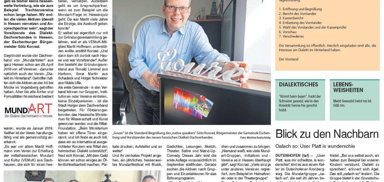 """""""Wir zeigen, dass Mundart Zukunft hat"""" (Hinterländer Anzeiger 13.04.2019)"""