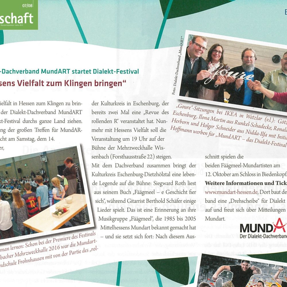 Dialekt-Dachverband MundART startet Dialekt-Festival