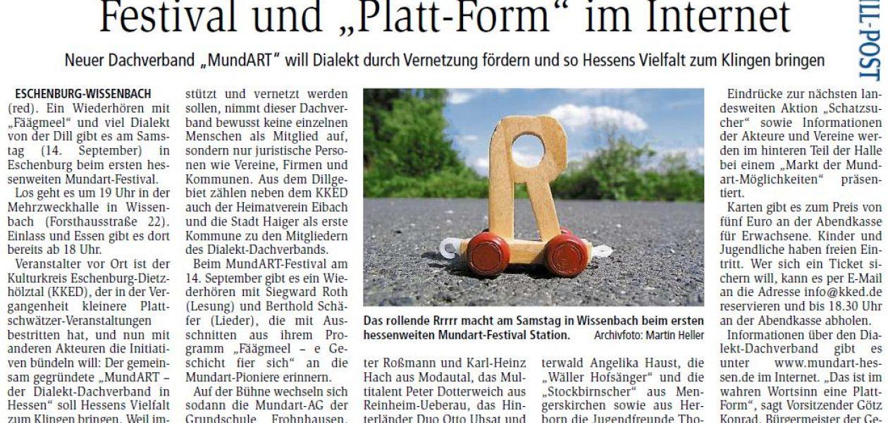 """""""Festival und Platt-Form im Internet"""" (Dill-Post 10.09.2019)"""