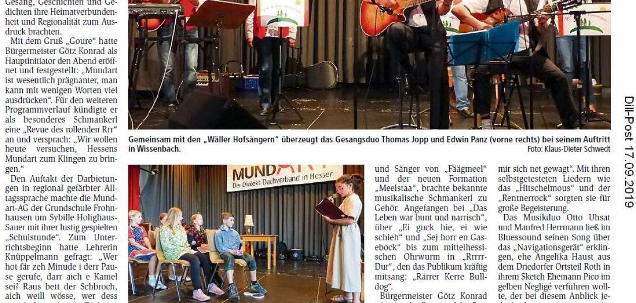 """Ouuurewäller Bauernblues und das Rrr"" (Dill-Post 16.09.2019)"