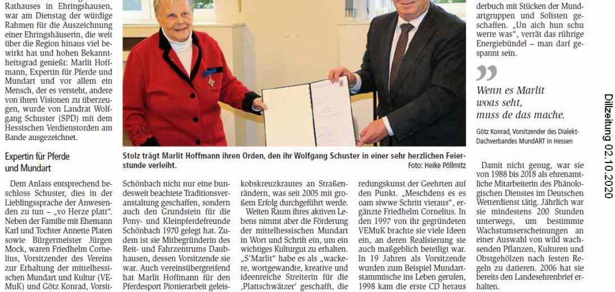 Plattschwätze als ausgezeichnetes Lebenswerk (Dill-Zeitung 02.10.2020)