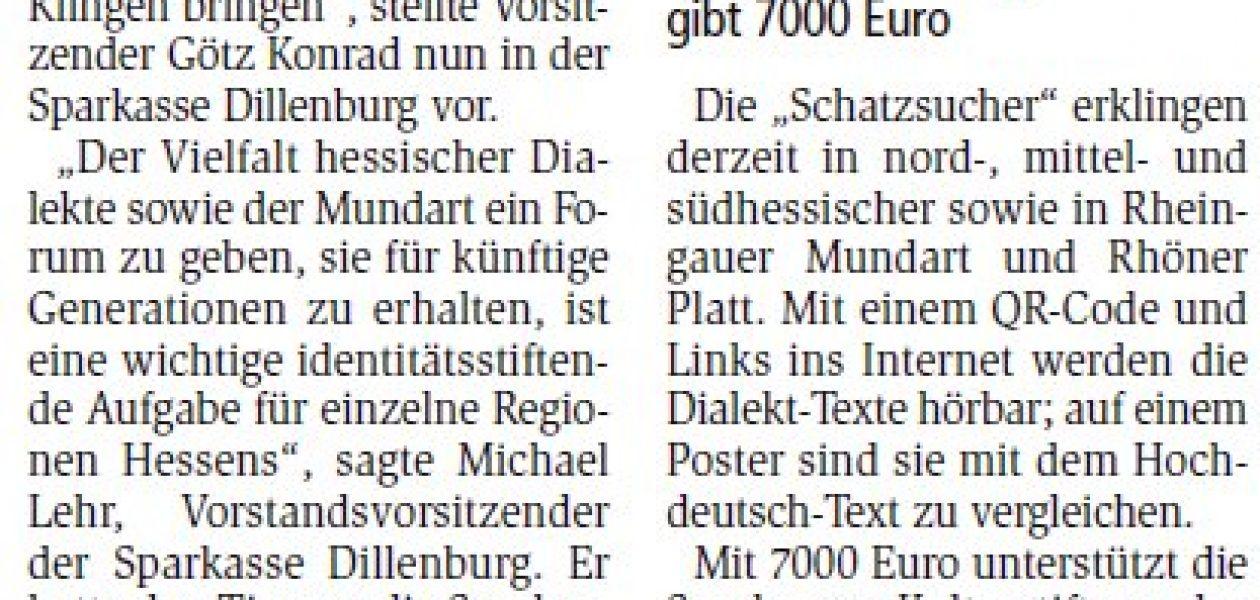 Mundart ist keine Unart (Dill-Zeitung 02.11.2020)