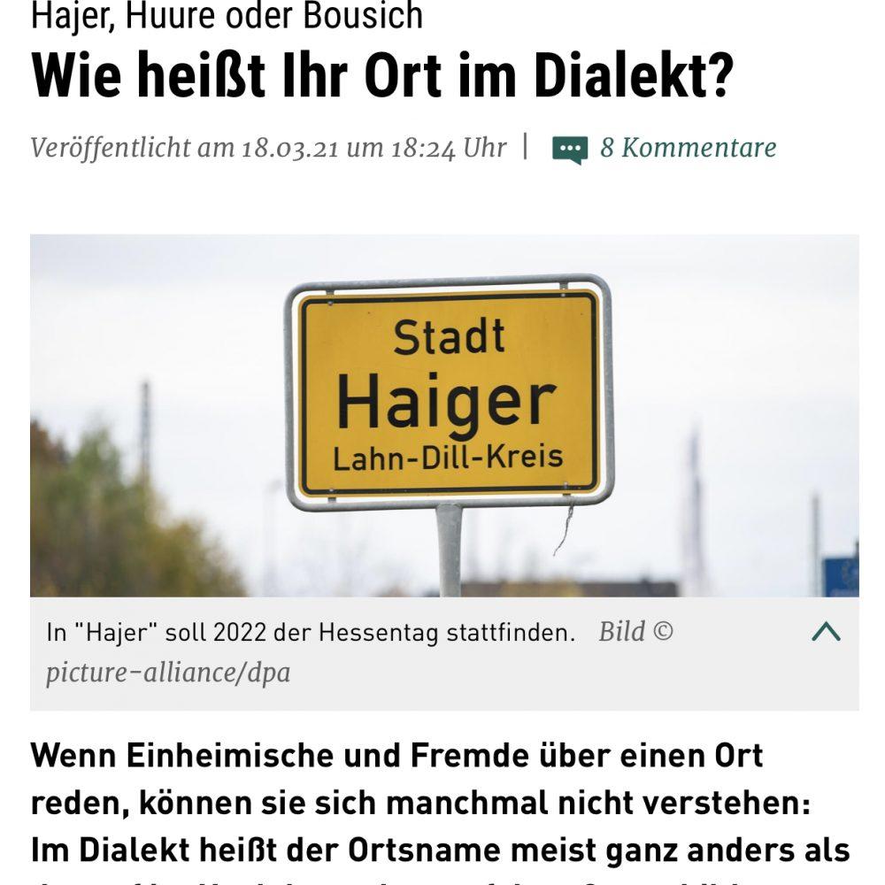 hr4 18.03.2021 Britta Wiegand interviewt Götz Konrad zum Thema Ortsnamen im Dialekt