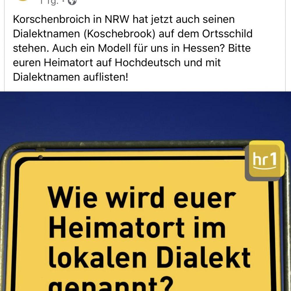 HR1-Interview von Thomas Koschwitz mit Götz Konrad über Ortsnamen im Dialekt